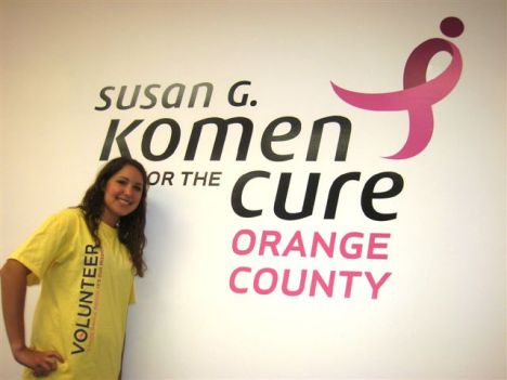 Volunteer Kelly Rotstan of Aliso Viejo models the Race volunteer T-shirt