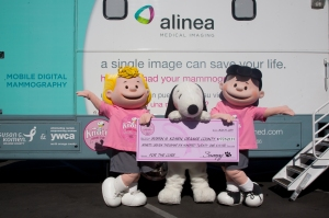 Peanuts characters deliver check to Komen Orange County (Photo courtesy of OCC School of Photography)