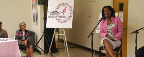 NBC Los Angeles captures Dr. Robina Smith, a breast surgeon, speaking at St. Jude Medical Center