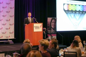 Dr. Adam Soloff presents his research about the development of a novel breast cancer vaccine at the Komen OC Grants Award Breakfast.